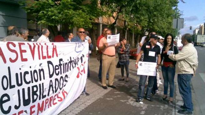 Una de las protestas de los prejubilados de Mercasevilla.