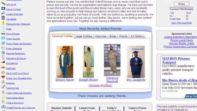 Captura de pantalla de la página de contantos y amistad para los presos de EE UU.