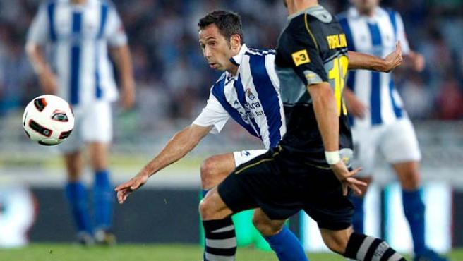 Raúl Tamudo, delantero de la Real Sociedad, en el partido ante el Espanyol.