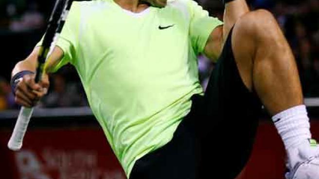 El tenista español Rafael Nadal celebra un punto