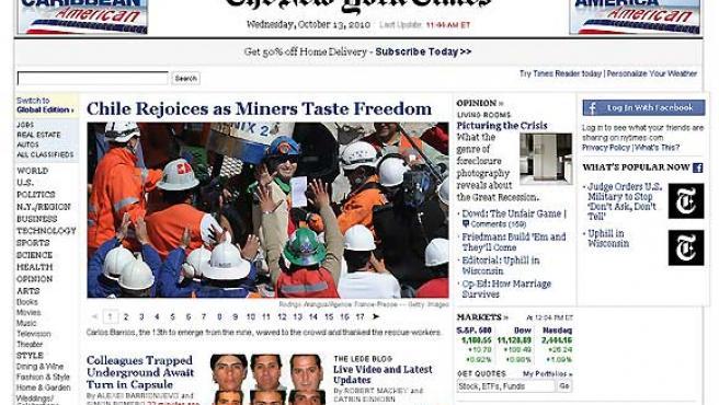 Portada web de 'The New York Times' con el rescate de los mineros de Chile.