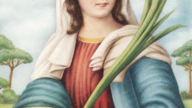 Santa Lucía, con los ojos que le arrancaron durante su martirio en una bandeja.