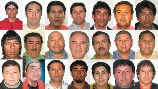 Retratos de los mineros rescatados de la mina de San José en Chile.