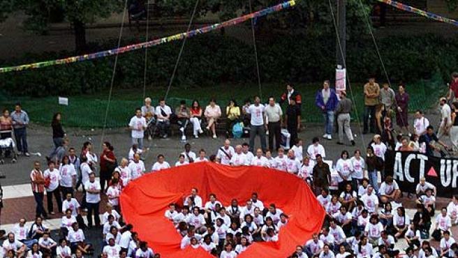 Imagen de una concentración de lucha contra el Sida.