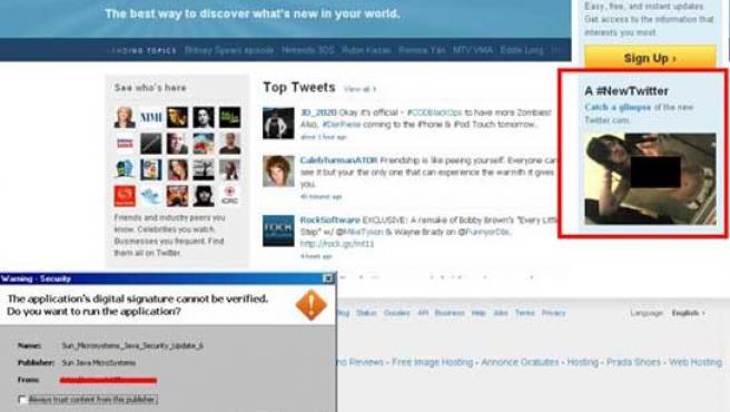 Página web maliciosa que imita a Twitter.