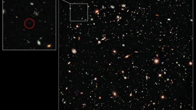 La galaxia UDFy-38135539, la más lejana a la Tierra conocida.