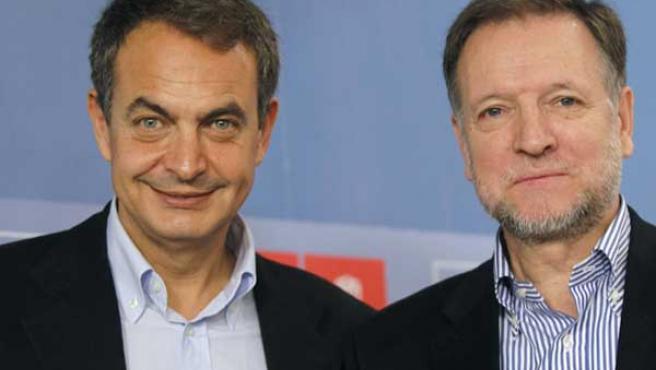Zapatero junto al nuevo secretario de Organización del partido, Marcelino Iglesias.