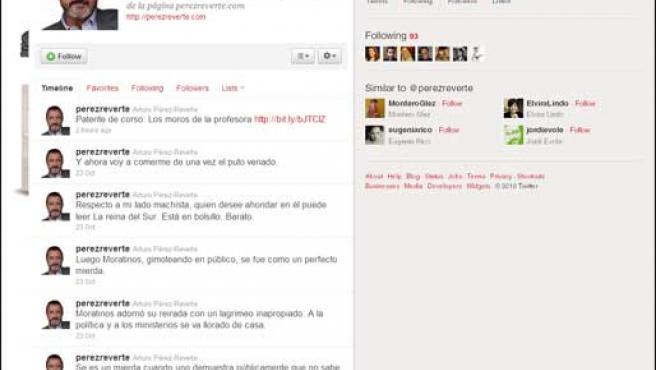 La cuenta de Twitter del escritor Arturo Pérez-Reverte.