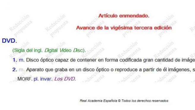 Diccionario de la RAE con la búsqueda de 'DVD'.