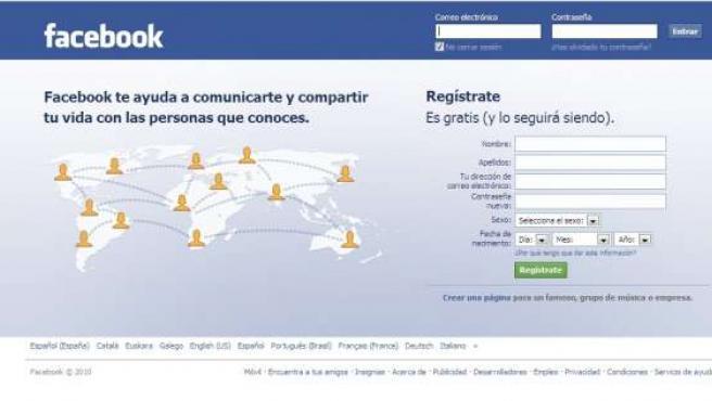 Página de inicio de la red social Facebook.