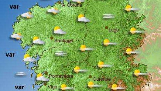 Mapa meteorológico para el sábado