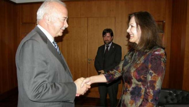 El presidente del Cabildo de Tenerife, Ricardo Melchior, recibe en su despacho d
