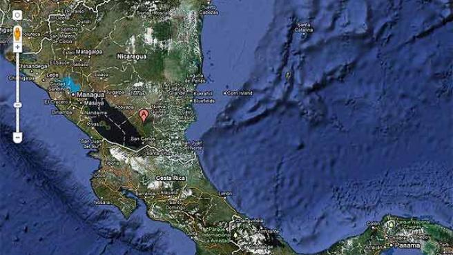 La frontera entre Costa Rica y Nicaragua, en los mapas de Google.