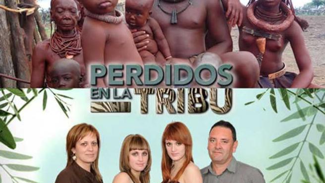 Miembros de la tribu himba, y la familia Carrión-Roldán, en la primera edición del programa.