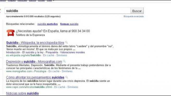 """Google muestra un teléfono de ayuda al escribir """"suicidio""""."""