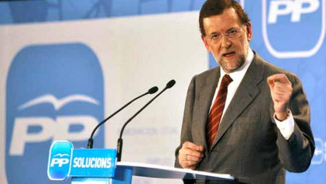 Mariano Rajoy, en un mitin en el Auditorio de Girona.
