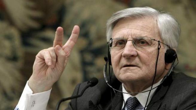 El presidente del BCE, Jean Claude Trichet, en la conferencia de prensa en Madrid.