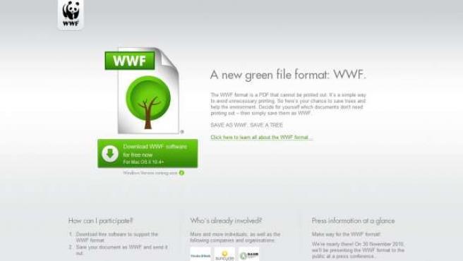 Anuncio del formato ecológico .WWF.