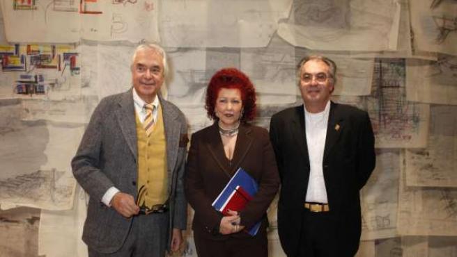 Paolo Riani junto a Consuelo Císcar y José Mª Lozano