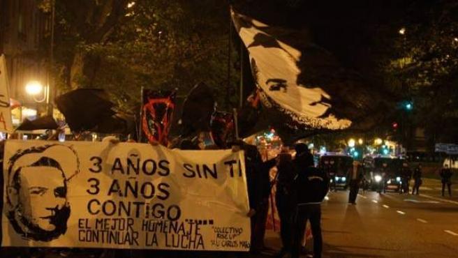 Última concentración que se realizó en recuerdo de Carlos Palomino.