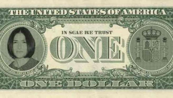 Billete de dólar con la imagen de Ángeles González-Sinde.