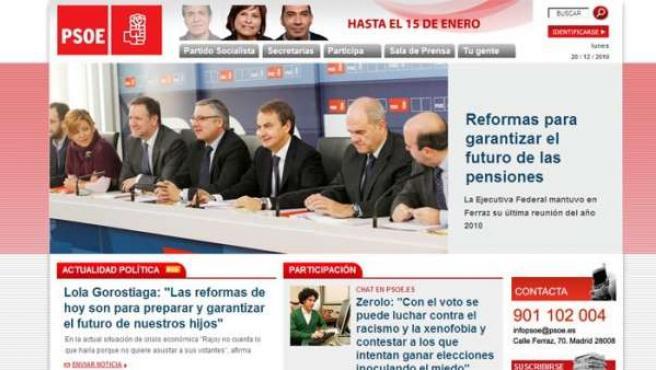 Imagen de la web del PSOE antes de ser atacada.