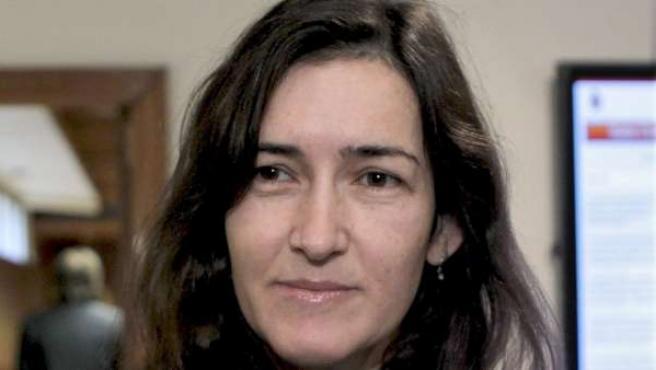 La ministra de Cultura, Angeles González -Sinde, ante los medios de comunicación.