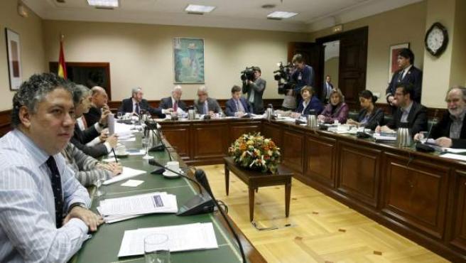 Vista de la reunión que la Comisión del Pacto de Toledo ha celebrado en el Congreso de los Diputados.