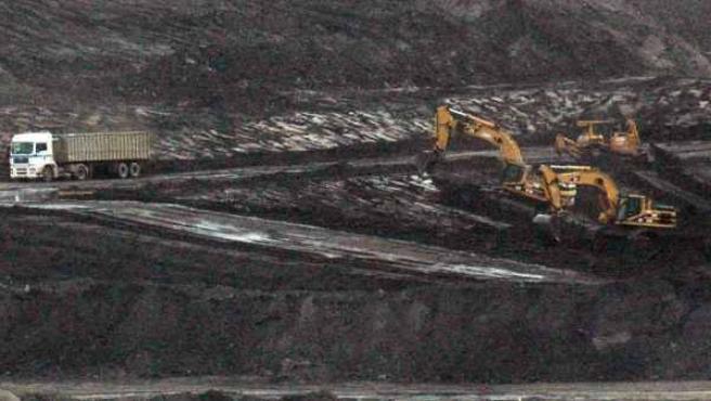 Extracción de carbón en la explotación a cielo abierto de Endesa Corta Gargallo, en Teruel.
