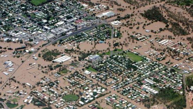 Vista aérea de las inundaciones en Emerald, Queensland (Australia).