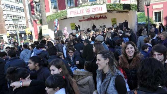 Celebración de fin de año 2011 a mediodía en Vilagarcía