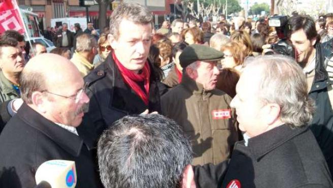 Enfrentamiento de los secretarios de UGT y CCOO con los alcaldes de Albudeite y
