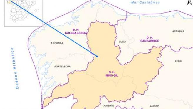 Mapa Cuenca Hidrográfica Miño-sil