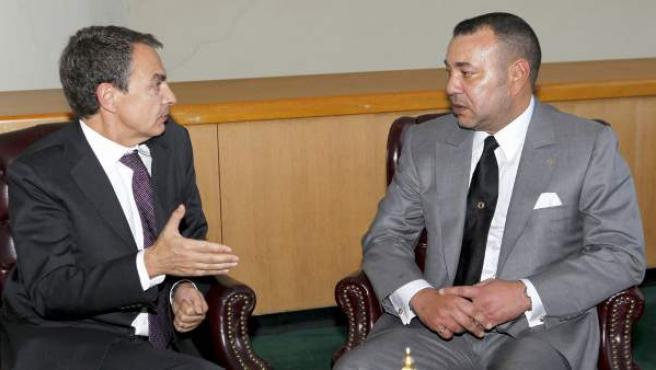 José Luis Rodríguez Zapatero, en una entrevista con el rey de Marruecos, Mohamed VI.
