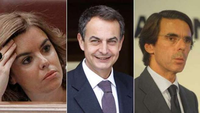 Sáenz de Santamaría, Rodríguez Zapatero y José María Aznar.