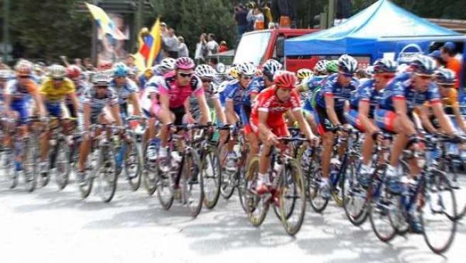 El pelotón en la Vuelta.