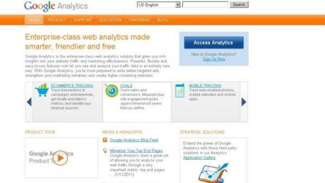 Pantalla de entrada a Google Analytics.