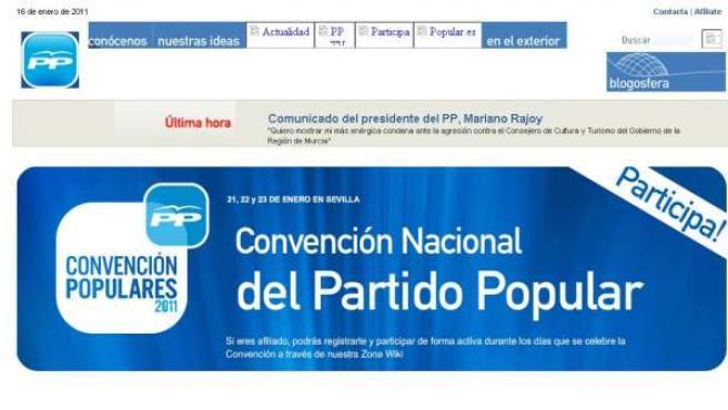 Imagen de la página web del PP, que tarda en responder ante el ciberataque.