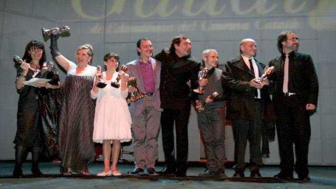Los participantes en la película Pa Negre, ganadora de los premios Gaudí.