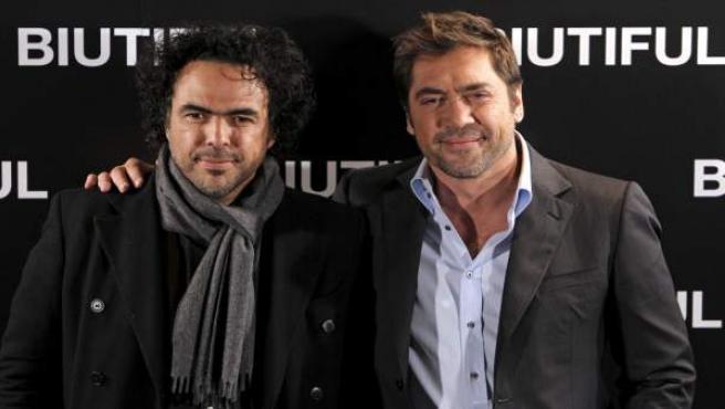 Alejandro González Iñárritu y Javier Bardem en la presentación de 'Biutiful'.