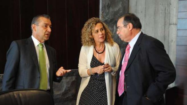 De izquierda a derecha, el presidente canario, Paulino Rivero, la vicepresident