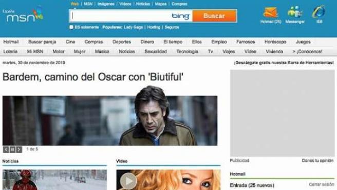 Una imagen del aspecto de la nueva web de MSN.