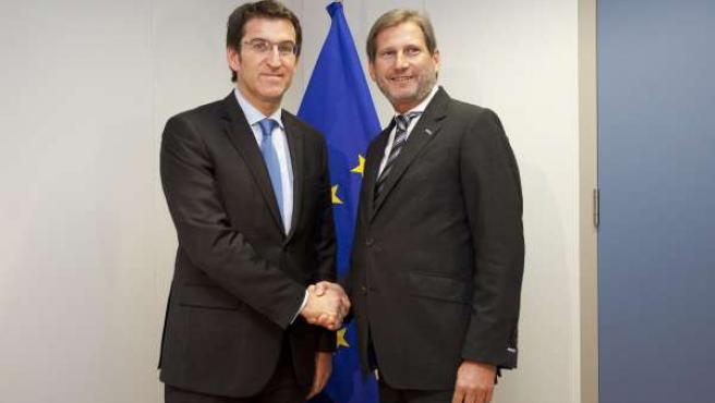 Alberto Núñez Feijoo y Johannes Hahn