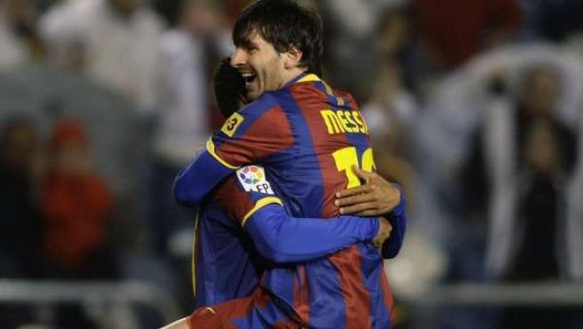 Leo Messi celebra el segundo gol del Barça ante el Deportivo.