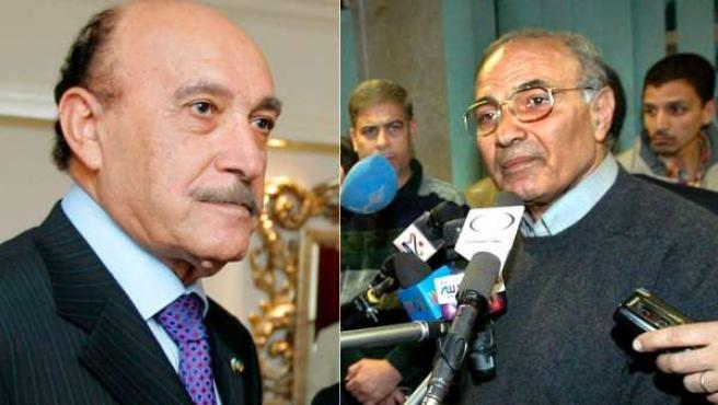 El nuevo vicepresidente de Egipto, Omar Suleimán (derecha) y el nuevo primer ministro, Ahmed Shafiq.