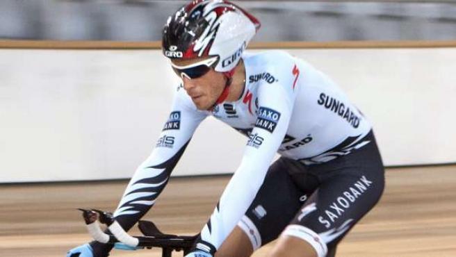 El ciclista Alberto Contador, durante un entrenamiento en Mallorca.