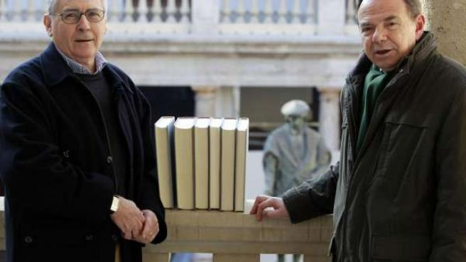 Los profesores Pérez y Estellés junto a su obra