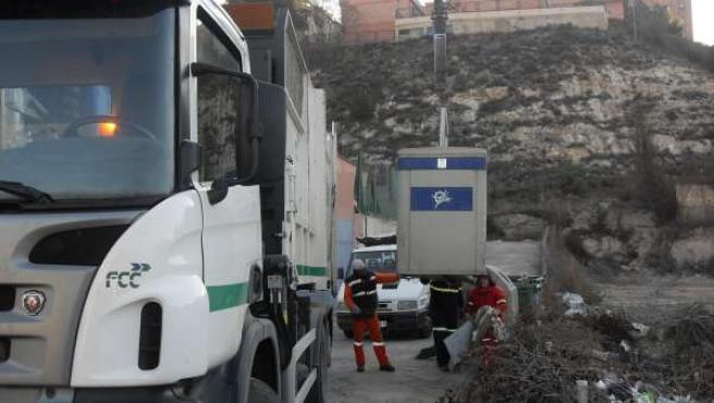 Limpieza viaria --recogida de basuras-- en Teruel