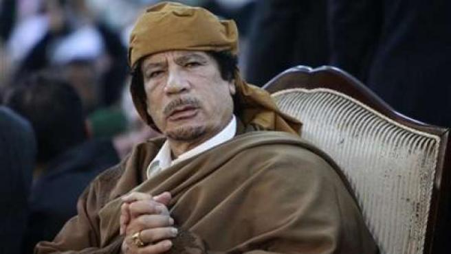 Imagen del presidente libio, Muamar Gadafi, en una ceremonia religiosa en Trípoli en 13 de febrero.