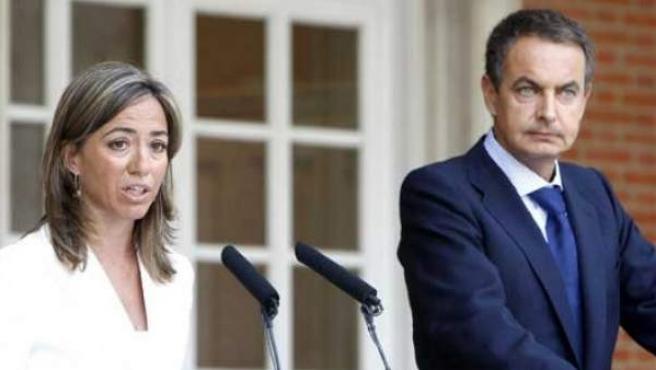 Carme Chacón y José Luis Rodríguez Zapatero.